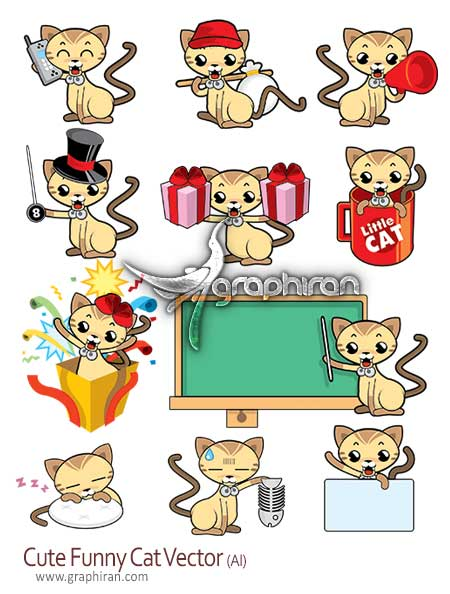 cute funny cats vector