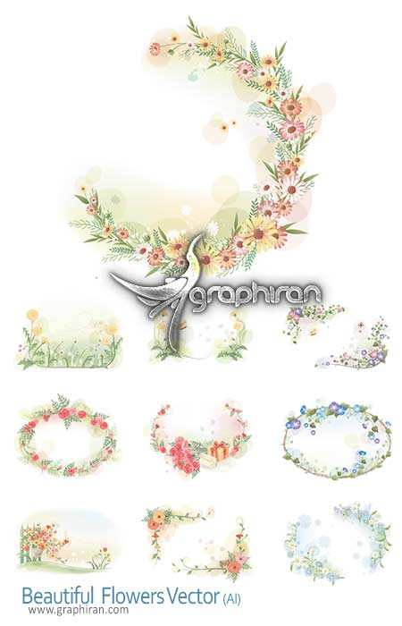 flower vector دانلود وکتور طرح های زیبای دسته گل های رنگارنگ