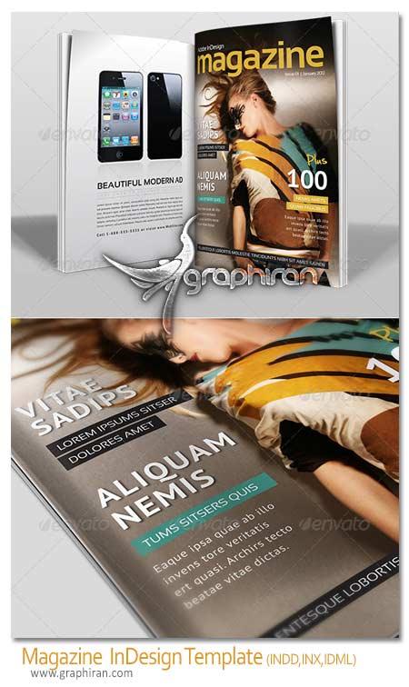 magazine template دانلود نمونه طرح لایه باز مجله سایز A4 برای Adobe InDesign