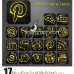 دانلود آیکون شبکه های اجتماعی با افکت نور نئون در ۳ سایز