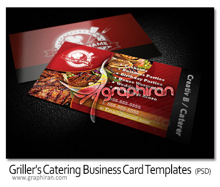 Grillers Catering Business Card Templates دانلود کارت ویزیت PSD لایه باز رستوران، سالن غذاخوری و غیره