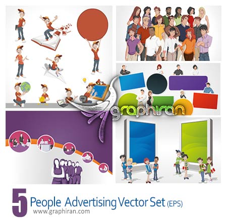 People advertising business vector set