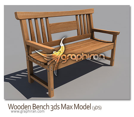 Wooden Bench 3ds model