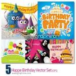 دانلود تصاویر وکتور جشن تولد بسیار زیبا Happy Birthday Vector