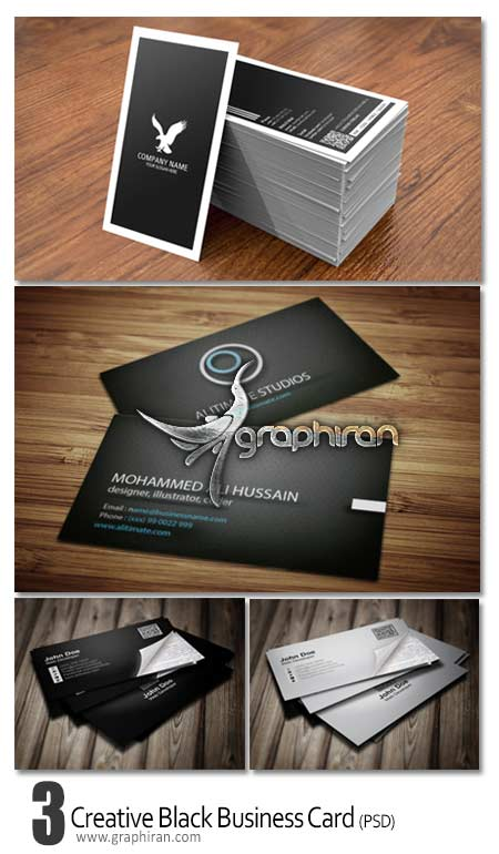 business card dark psd