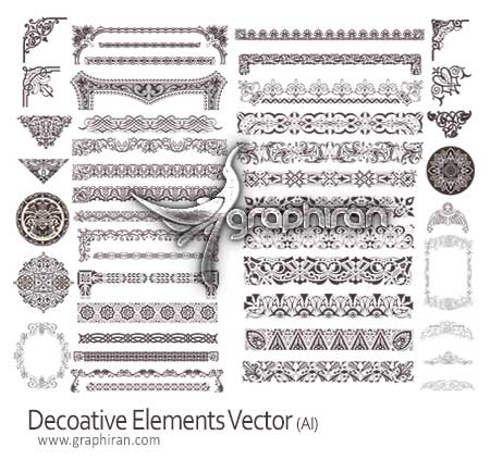 decorative elements دانلود وکتور لایه باز طرح های تزئینی گوشه و حاشیه کاغذ