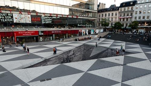 نقاشی 3 بعدی روی زمین
