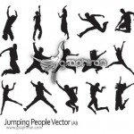 دانلود وکتور تصاویر آدم در حال پریدن Jumping People Vector