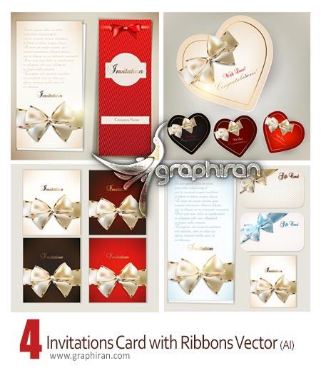 Invitations card with ribbons دانلود تصاویر وکتور کارت دعوت های شیک با روبان های زیبا