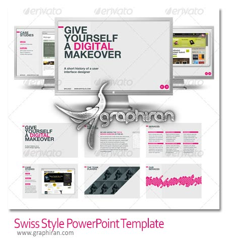 Swiss Style PowerPoint Template دانلود قالب آماده پاورپوینت زیبا و حرفه ای PowerPoint Template