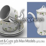 آبجکت تری دی مکس فنجان و قوری چای Cups & Teapot 3ds Max Models