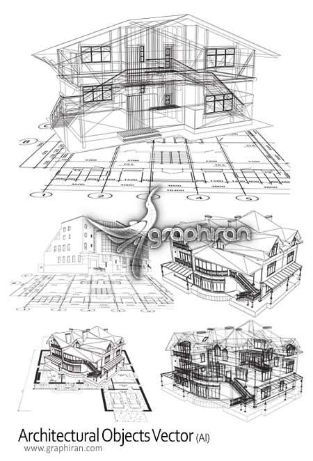 architectural objects vector دانلود طرح وکتور اسکیس های معماری Architectural Objects Vector