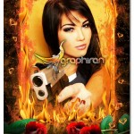 دانلود قاب عکس دیجیتال با کادر آتش و گل سرخ به صورت PSD لایه باز