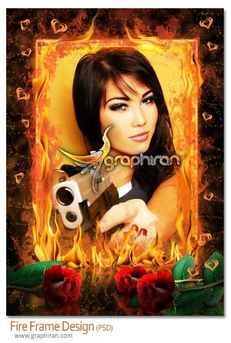 fire frame psd دانلود قاب عکس دیجیتال با کادر آتش و گل سرخ به صورت PSD لایه باز