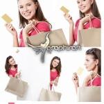 دانلود تصاویر استوک دختر با ساک خرید و کارت ویزیت محصول Fotolia