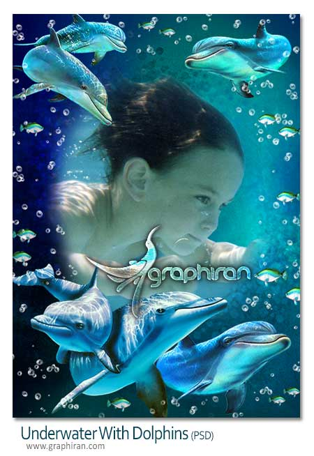 underwater with dolphins psd