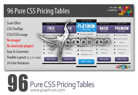96 pure css pricing