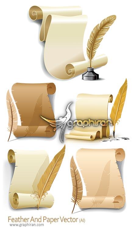 دانلود تصاویر وکتور طومار کاغذ و قلم پر Paper & Feather Vector