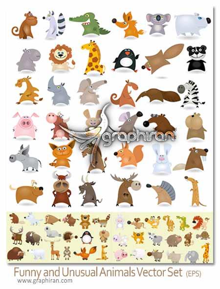 وکتور حیوانات کارتونی و بامزه