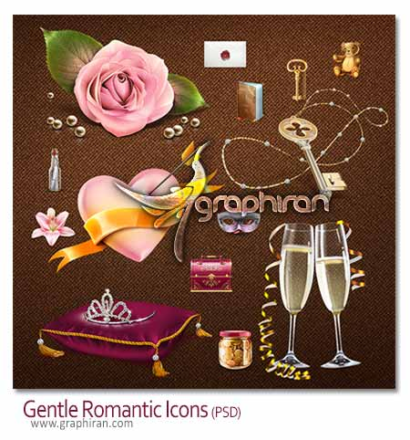 Gentle Romantic icon دانلود آیکون های عاشقانه و رمانتیک به صورت PSD لایه باز