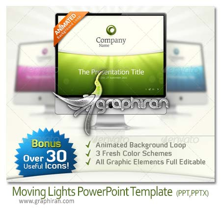 Moving Lights PowerPoint Template دانلود تم پاورپوینت آماده با 12 اسلاید Free PowerPoint Template