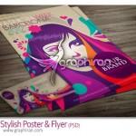 دانلود پوستر شیک با طرح گرافیکی صورت زن به صورت PSD و وکتور