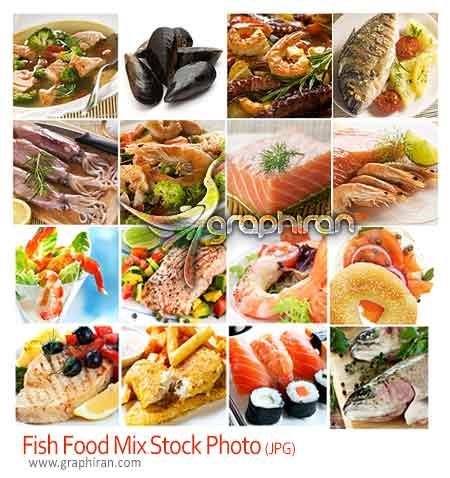 عکس استوک انواع غذاهای دریایی