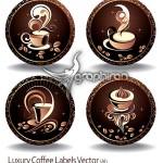 دانلود وکتور برچسب های زیبا از طرح های گرافیکی فنجان قهوه