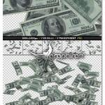 دانلود مجموعه تصاویر اسکناس ۱۰۰ دلاری با پس زمینه شفاف