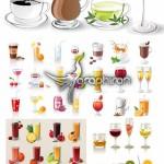 دانلود تصاویر وکتور انواع نوشیدنی گرم و سرد Drinks Vector Set
