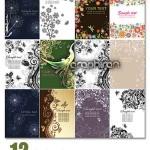 دانلود وکتور کارت های تزئینی گل و بوته زیبا Floral Cards Vector