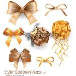 دانلود تصاویر وکتور روبان های گره زده زیبا و طلایی رنگ