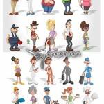 دانلود مجموعه عظیم وکتور شاتر استوک آدم های کارتونی مختلف