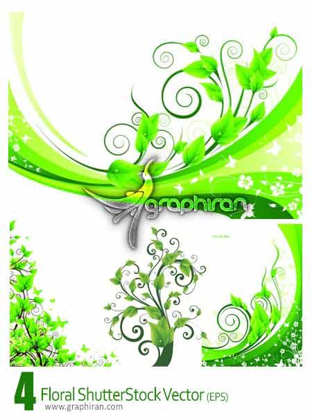 وکتور گل و بوته های سبز رنگ