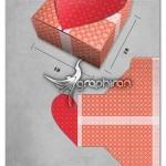 الگوی بسته بندی جعبه کادو عاشقانه با طرح قلب Gift Box Template