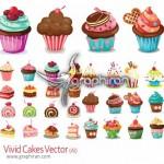 دانلود تصاویر وکتور کیک و شیرینی های رنگارنگ و زیبا