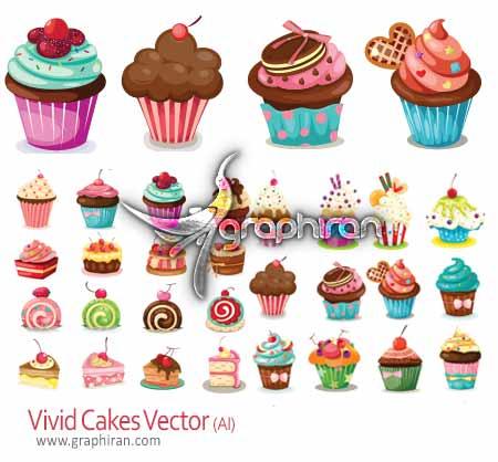وکتور کیک و شیرینی