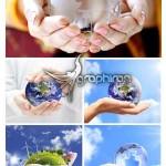دانلود تصاویر استوک کره زمین در دست انسان با کیفیت بالا