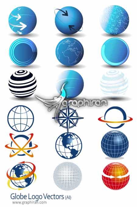 دانلود مجموعه لوگو شکل کره زمین به صورت وکتورلوگو شکل کره زمین