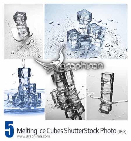 عکس شاتراستوک مکعب یخ در حال آب شدن