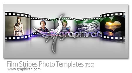 Film Stripes Photo Templates PSD دانلود قاب عکس شکل حلقه فیلم Film Stripes Photo Templates PSD