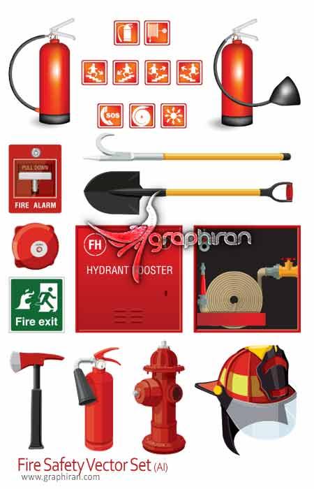 تصاویر وکتور انواع لوازم آتش نشانی
