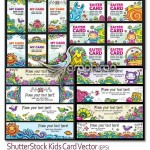 دانلود تصاویر وکتور شاتر استوک کارت های کودکانه و زیبا