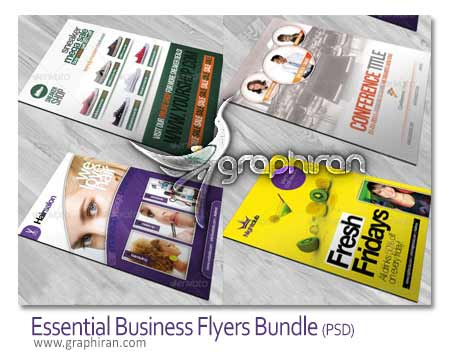 Essential Business Flyers Bundle دانلود مجموعه 4 طرح لایه بار تراکت تبلیغاتی حرفه ای سایز A5