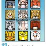 Square Icons of Farm Animals 150x150 بروشور سه لت مربعی مشکی رنگ Square Trifold Brochure DoubleInk