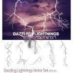 دانلود طرح های وکتور رعد و برق زیبا Lightnings Vector Set