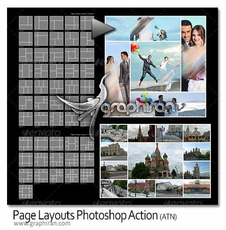 Page Layouts دانلود اکشن فتوشاپ صفحه بندی تصاویر Page Layouts Action
