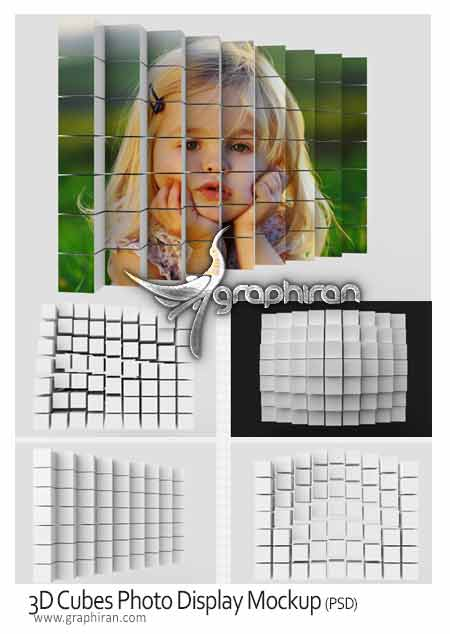 3D Cubes Photo Display Mockup