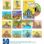 دانلود تصاویر وکتور کودک و مدرسه ZZVe Kids & School Vector Set