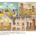 دانلود تصاویر وکتور کارتونی شهر و ساختمان City Vector Set